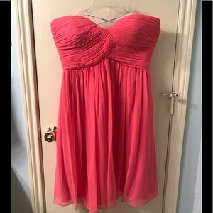 Coral, strapless, short silk dress only worn once